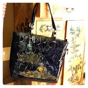 Coach Black Patent Leather Shoulder Bag
